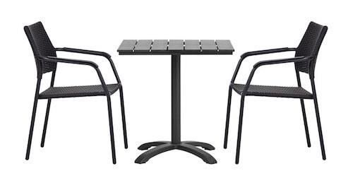 Østerby sort nonwood cafebord og 2 stole