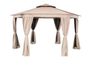 Luksus 6-kantet pavillon i beige polyester