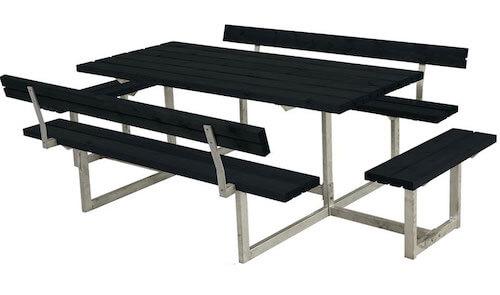 Plus Basic sort bordbænkesæt med 2 påbygninger