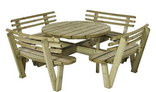Plus bord-bænkesæt med rundt bord og ryglæn