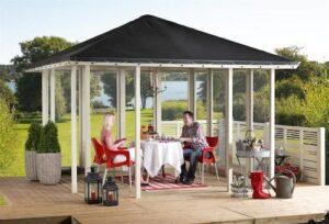 Plus havepavillon i træ med tagpap og 2 lukkede sider