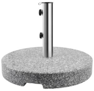 Rund granit parasolfod på 40 kg og rør i rustfrit stål