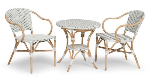 Select havemøbelsæt i aluminium med bambus look