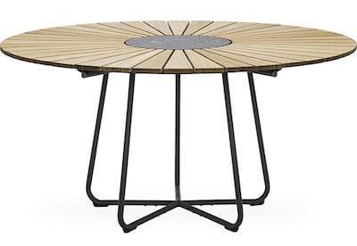 Circle rundt havebord med bordplade i olieret bambus