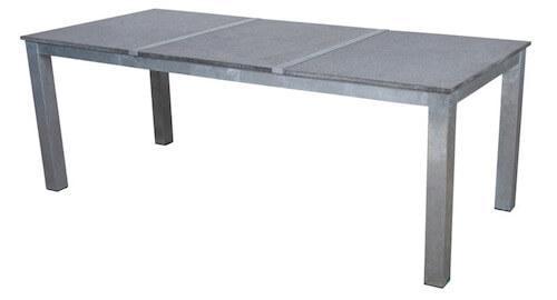 Corsica bord med bordplade i granit og stel i galvaniseret stål