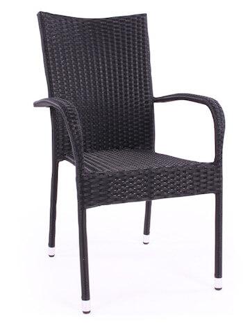 Geneve populær havestol i sort polyrattan og stålstel