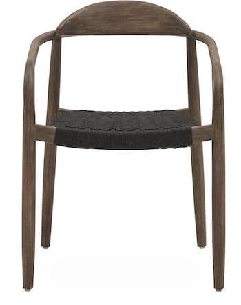 Javi klassisk stol i eukalyptus træ og sæde i sort flettet reb