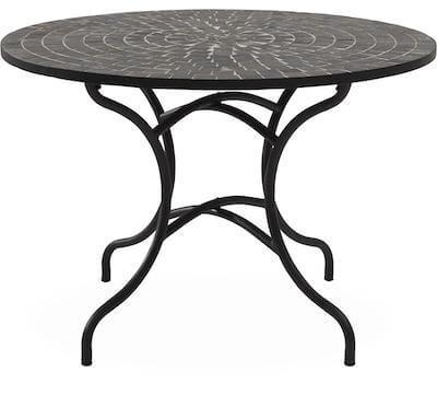 Korsika havebord med sort og grå mosaik bordplade