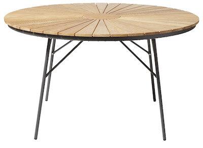 Rørvig træ foldbar havebord Ø110 med antracit aluminiumsbenRørvig træ foldbar havebord Ø110 med antracit aluminiumsben
