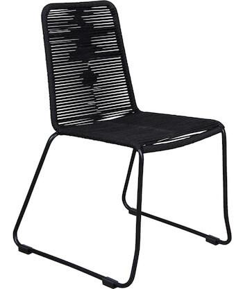 Thorø sort havestol kombineret med reb og stål