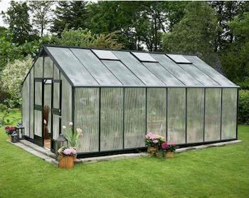 Juliana drivhus stort 21,4 m2 med plads til havemøbler og planter