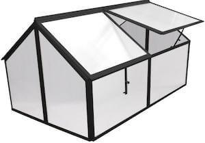Sort mini drivhus med 4 åbninger og 4 mm polycarbonat